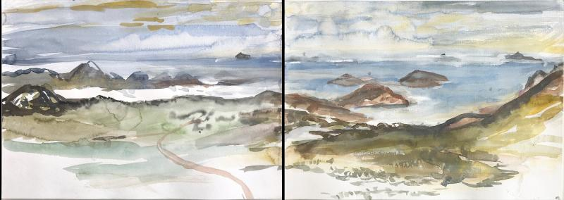 Early Morning View Frenchmans Peak Diptych